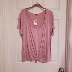 Dusty Rose Scoop Neck Tee w/ Strappy Detail